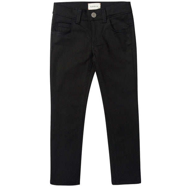 Girls Black Cotton Denim Ttousers