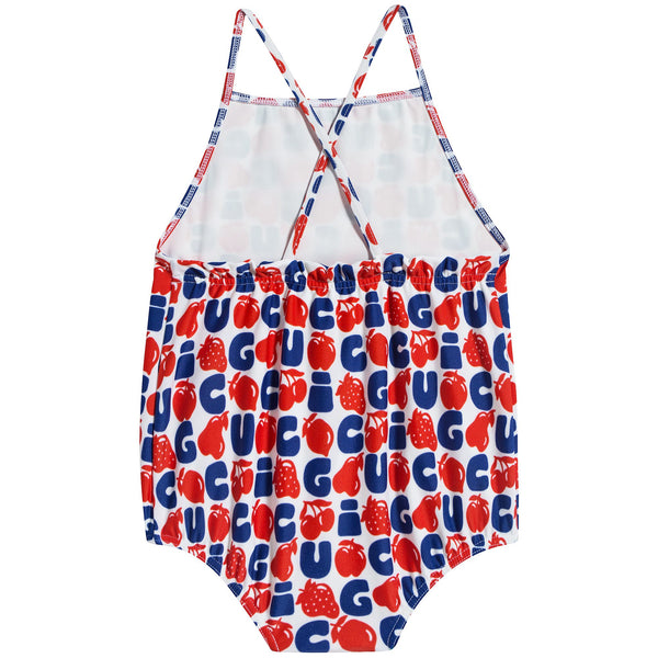 Baby Girls Red & Blue Logo Swimsuit