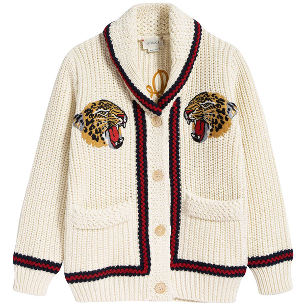 Girls White Embroidery Cardigan