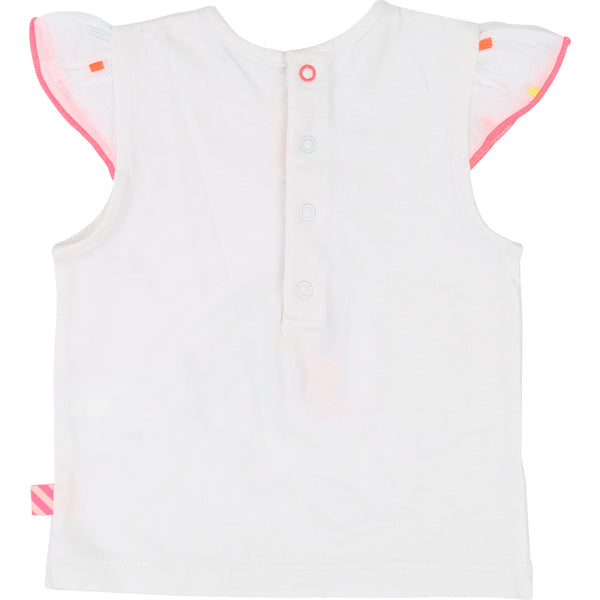 Baby Girls White Cotton T-shirt