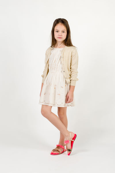 Girls Beige Cotton Dress