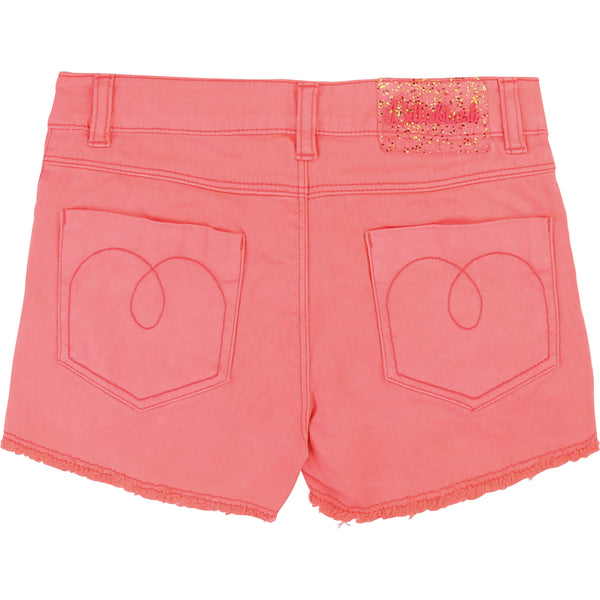 Girls Rose Fluo Cotton Shorts