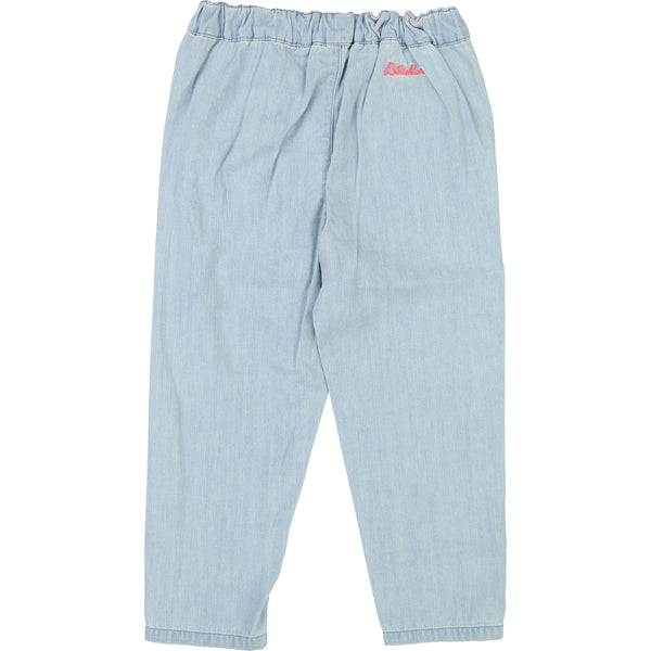 Girls Light Blue Denim Cotton Trousers