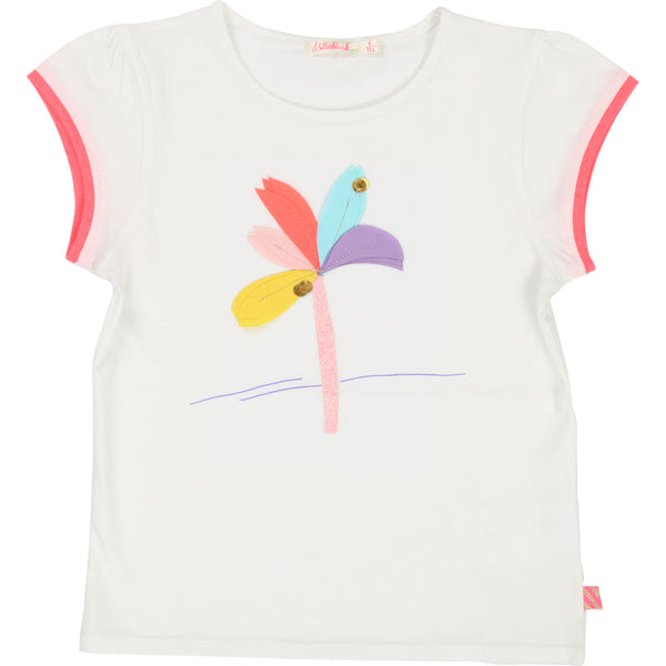 Girls Rice White Printed Cotton T-shirt