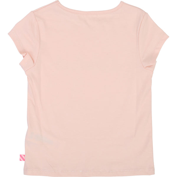 Girls Light Pink Logo Cotton T-shirt
