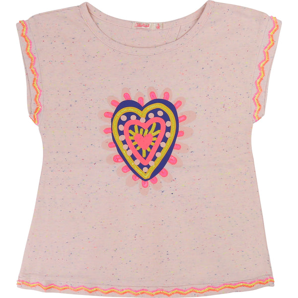 Girls Pink Heart Cotton T-shirt