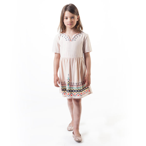 Girls Cream Embroidered Dress