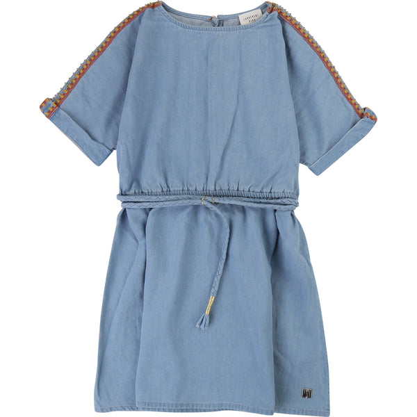 Girls Light Blue Cotton Dress