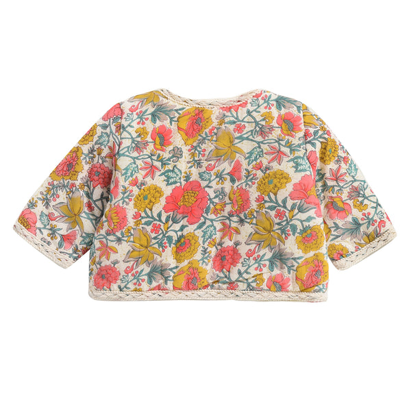 Baby Girls Multi Flowers Cotton Jacket