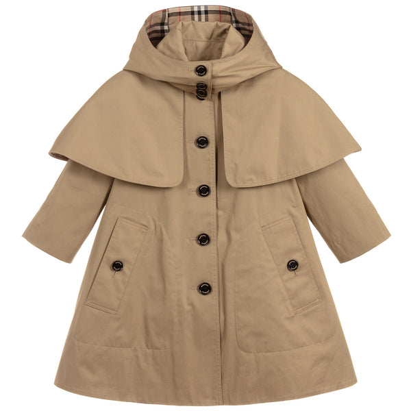 Girls Beige Cotton Coat