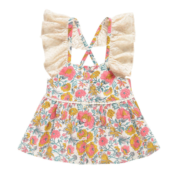 Girls Multi Flowers Cotton Top