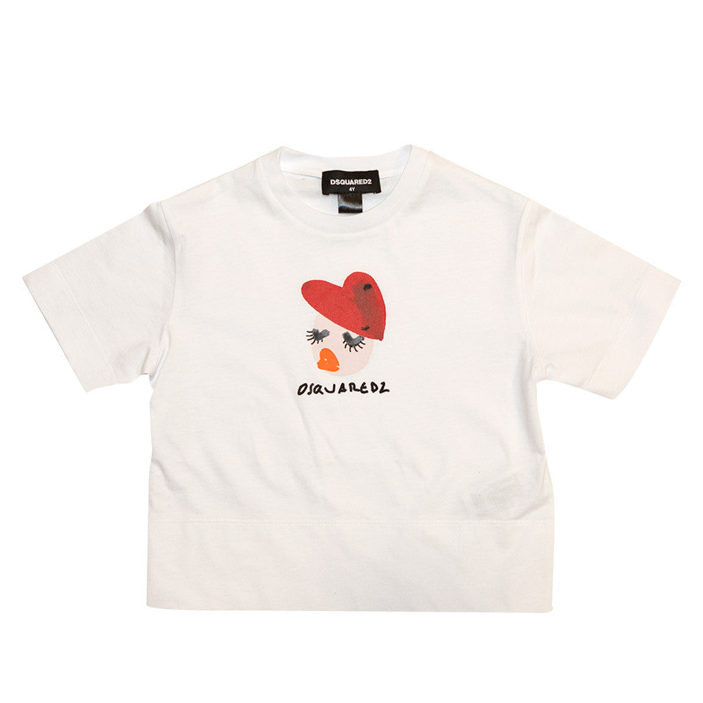 Girls White T-shirt with Heart and Logo Print