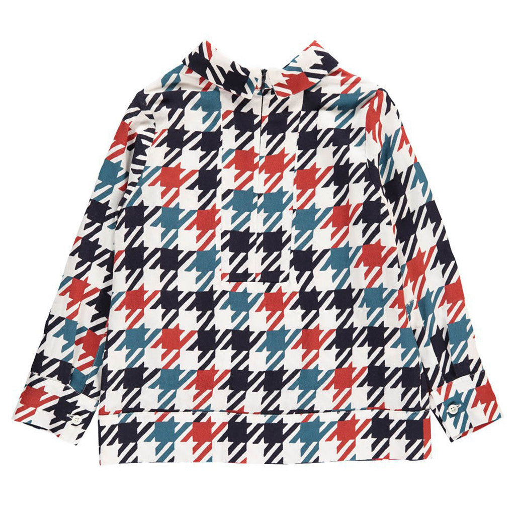 Houndstooth Print Shirt with Pocket