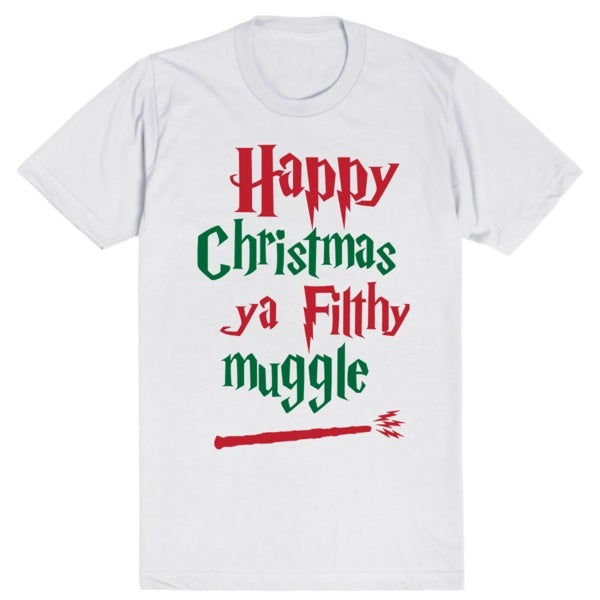 Happy Christmas Ya Filthy Muggle - Harry Potter - Home Alone | Unisex White T-Shirt | Eternal Weekend - 1