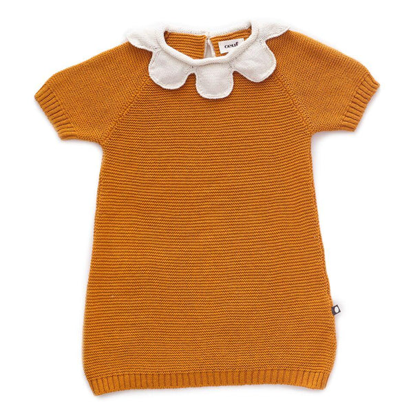 Oeuf,Daisy Collar Dress in Ochre,CouCou,Baby Girl Clothes