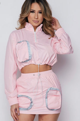Reflective Windbreaker Skirt Set(Pink)