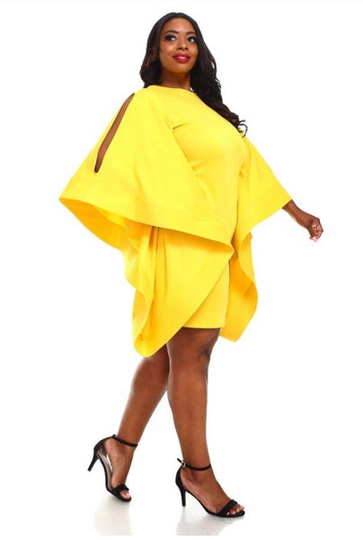 FLARE WINGS DRESS (yellow) PLUS SIZE