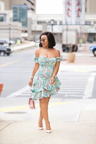 Blossom Beauty Dress(Teal)