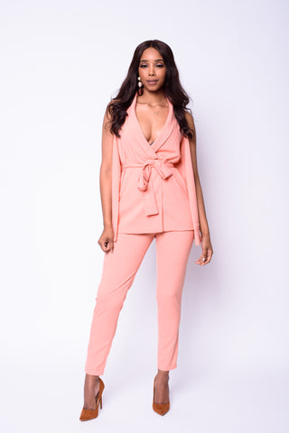 Boss Lady Cape Jumpsuit (blush)