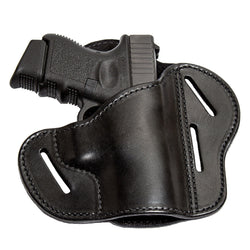 Relentless Tactical Holsters CLEARANCE!! The Ultimate Leather Gun Holster | 3 Slot Pancake Style Belt Holster | Handmade in the USA! | Fits S&W Shield/Glock/XD Glock XD Right Handed / Black