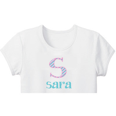 Striped Initial Custom Girls Tee - Moonbeam Baby