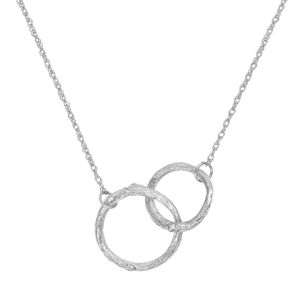 1e6f2c081cd751 ... image-Solid White Gold Hawthorn Twig Infinity Double Circle Necklace ...