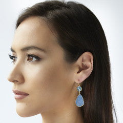 2 Stone Drop Earrings Aqua Chalcedony/Blue Druzy