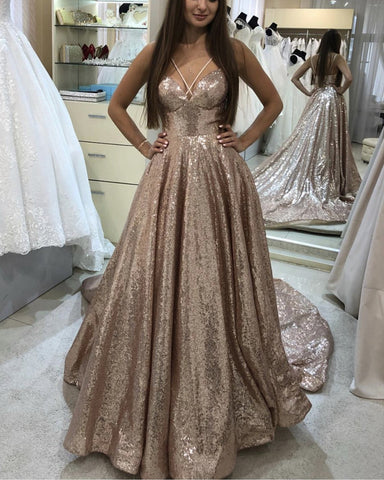 Image of Sequin Prom Dresses Rose Gold