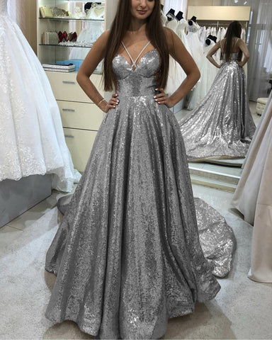 Image of Silver Sequin Evening Gown