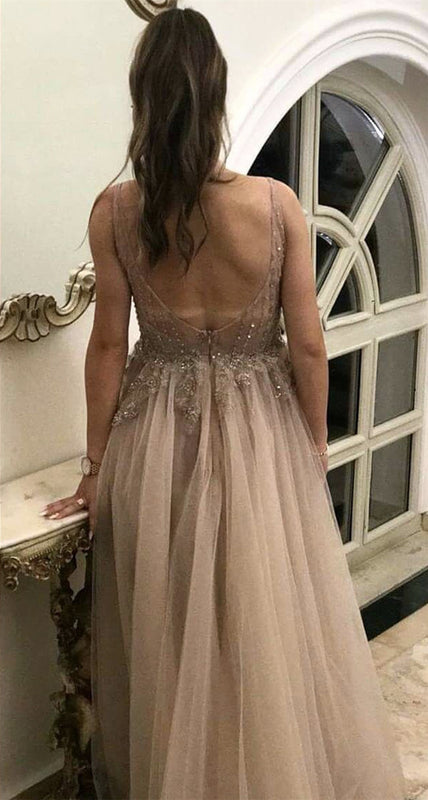 Long-Elegant-Prom-Gowns-Tulle-Champagne-Evening-Dresses-Lace-Appliques