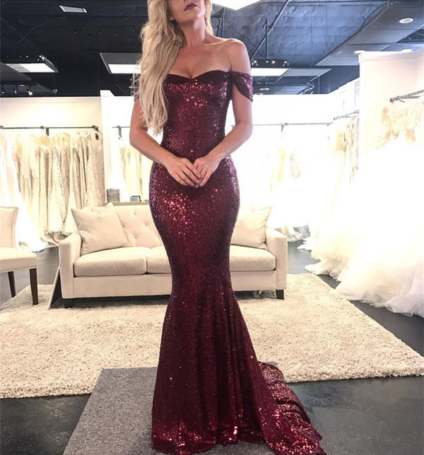 Sparkly Sequin Off The Shoulder Mermaid Evening Dresses 2019 Prom Gowns