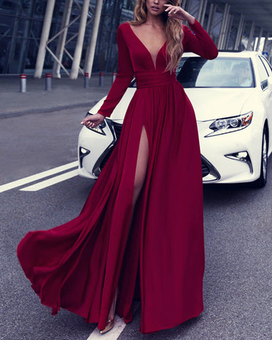 alinanova long sleeves evening dresses 7043 burgundy