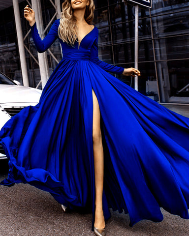 Image of alinanova long sleeves evening dresses 7043 royal blue