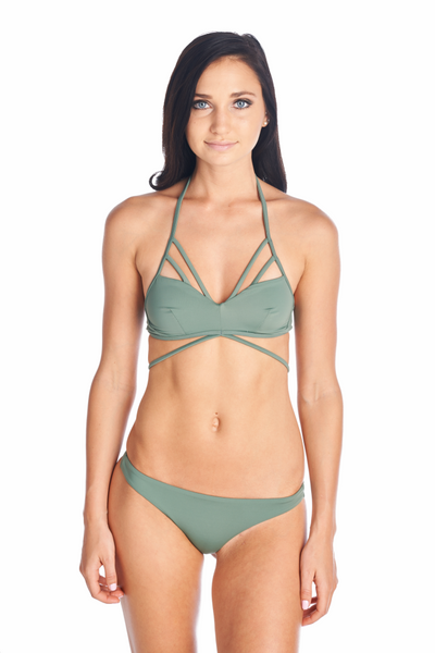 Front view of swimsuit in Olive can mix and match with any Aikido Swimwear bottom