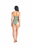 Halter Toro bikini top with neckband in Olive. Worn with high waisted Hikari bottom