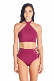 Toro halter top with neckband in Merlot. Can be paired with Aikido Swimwear Hikari eyelet bottoms