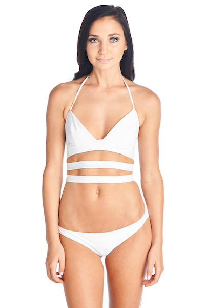 White swimwear top great for summer pool parties