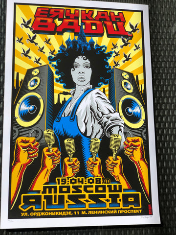 Emek - Erykah Badu - Moscow Russia Print - Signed and Numbered