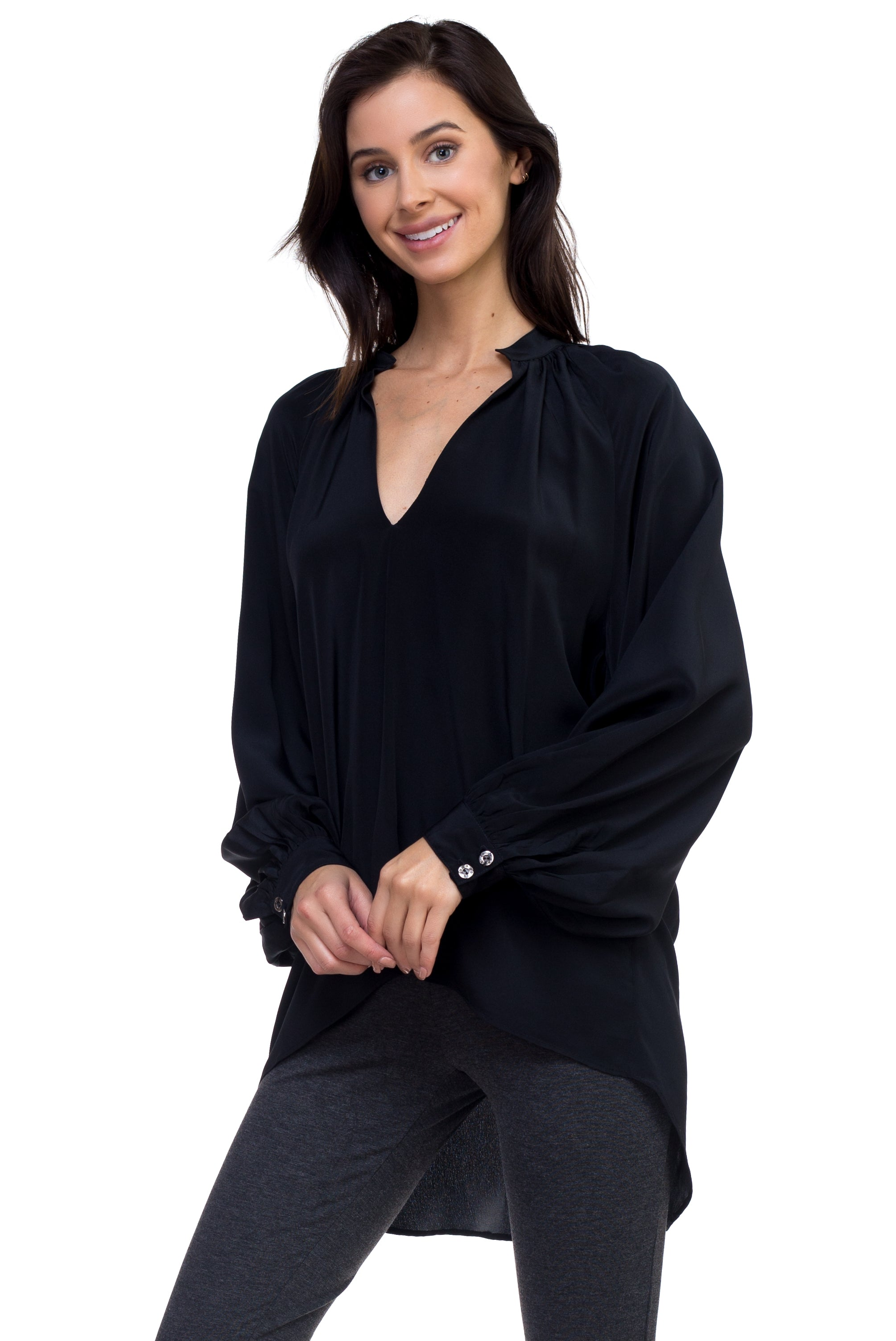 Ana - Airy Silk Blouse Black
