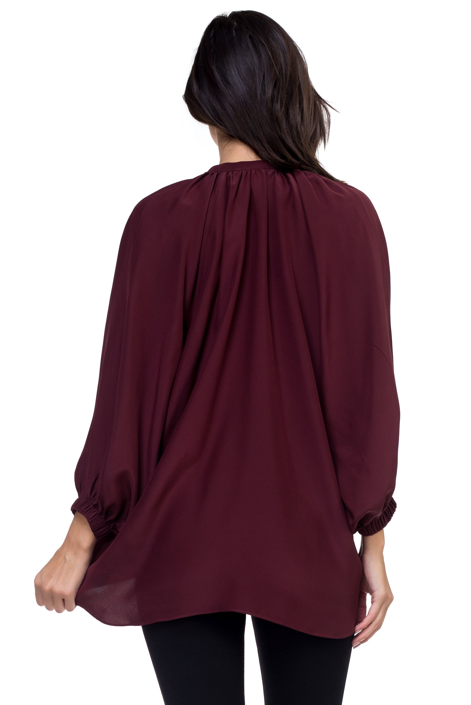 Ana - Airy Silk Blouse Forest burgundy