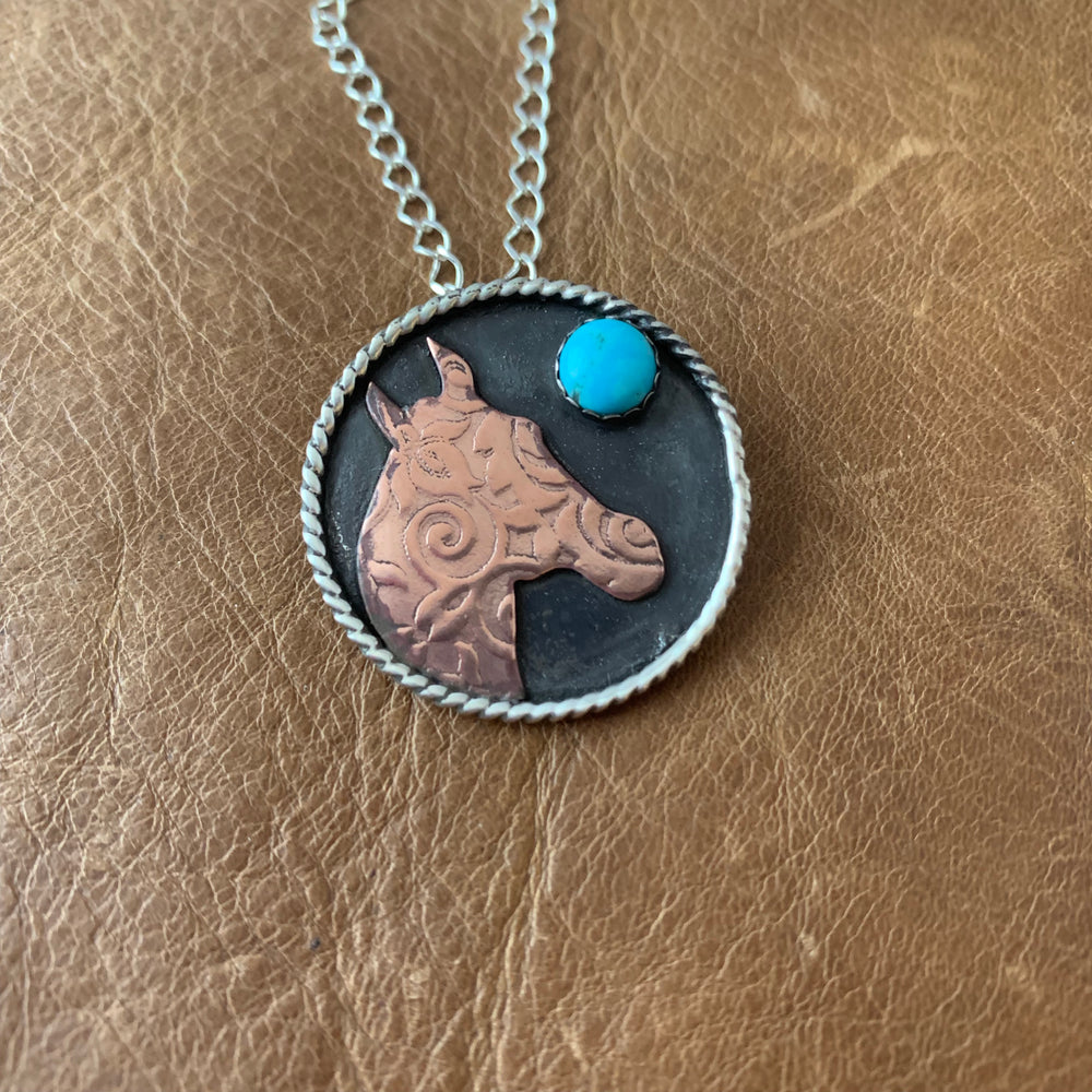 1 1/8 Round Sterling silver with horse copper cutout