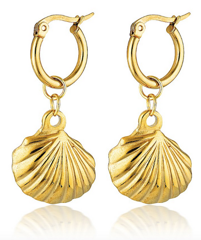 Cendre La Mer Seashell Hoop Earrings