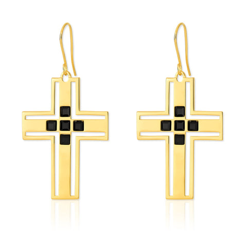 f+h jewellery 'richie' cross earring - 18k gold + onyx gemstones