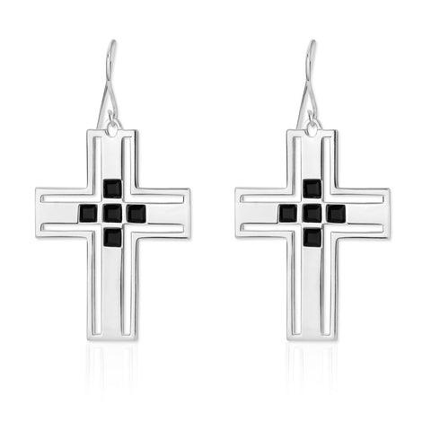 f+h jewellery 'richie' cross earring - sterling silver + onyx gemstones