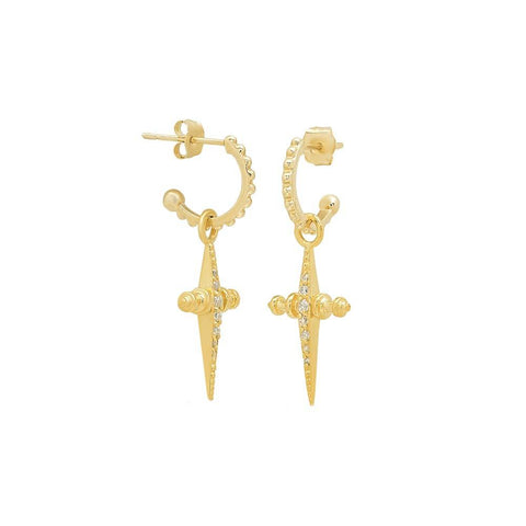 LUV AJ Pave Mini Cross Hoops - Gold