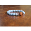 Angelite Rudraksha and Copper Mala Bracelet