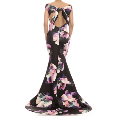 Floral Neoprene Evening Gown - Black