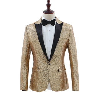 Sparkling Gold Silver Sequins with Black Lapel Detail Men Stage Blazer