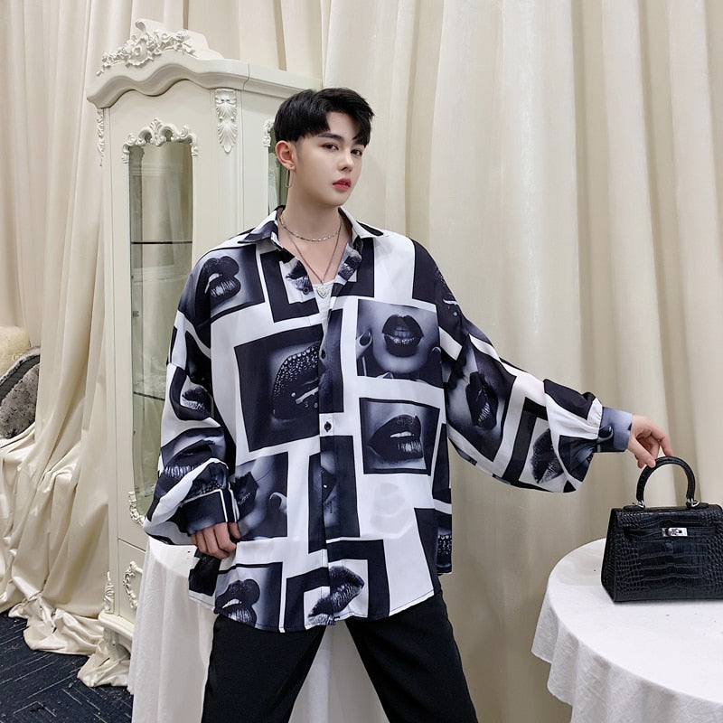 Mouth Print Loose Bat Sleeve Casual Oversized Style Men Shirt