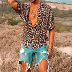 Casual Short Sleeve Leopard Print Loose Sexy Summer Style Men Shirt